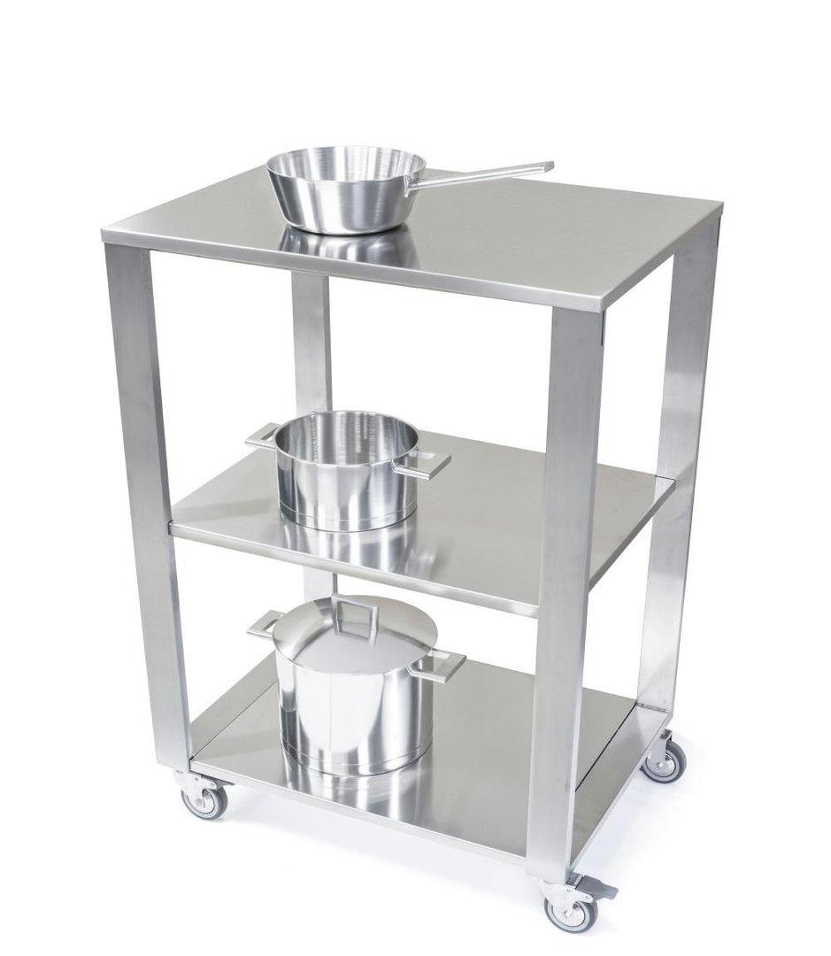 Küchenwagen mit Arbeitsfläche Edelstahl Serie CUN light mit zwei ...