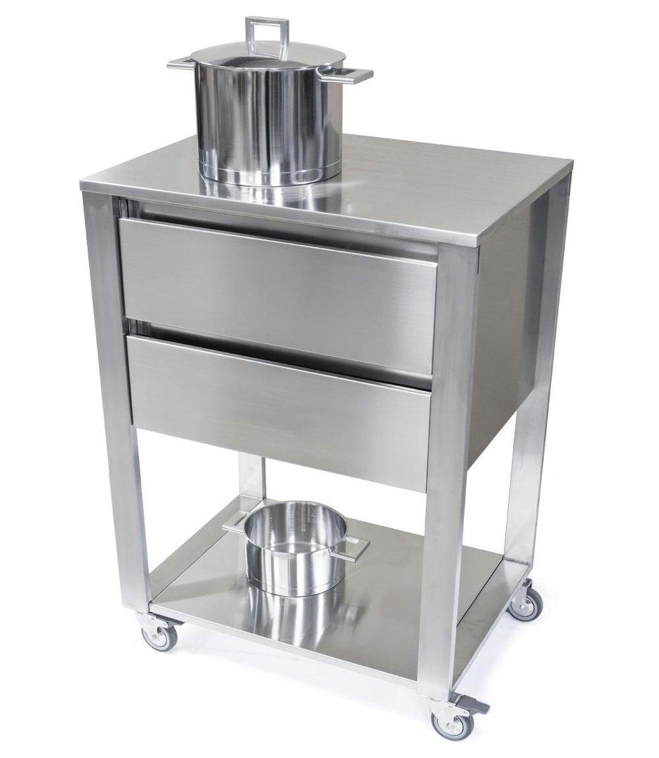 Küchenwagen mit Arbeitsfläche Edelstahl Serie CUN light mit 1 Ablage ...