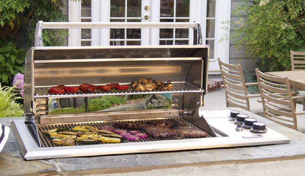 Outdoorküche Mit Gasgrill Cover : Fire magic regal 1 drop in gas grill mit el. drehspiess und infrarot
