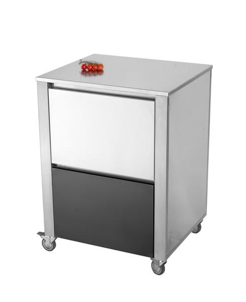CUN Base2 Acrylstein Schwarz ___ Küchenwagen aus Edelstahl der Serie CUN  mit zwei Schubladen